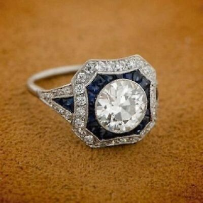 Art Deco Antique 2 Ct Round Cut & Sapphire Engagement Ring 925 Sterling Silver