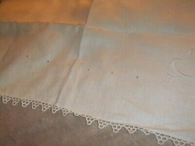 Tablecloth Vintage Off White Linen w/embroidery and Lace Trim...#66TC