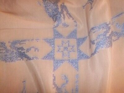 Tablecloth Vintage Pink Silk with Blue Cross Stitch Pattern..#23TC