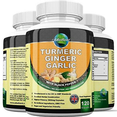 GINGER TURMERIC GARLIC WITH BLACK PEPPER 3654mg CAPSULES CARDIOVASCULAR SUPPORT+