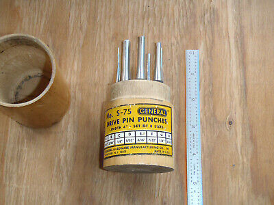 Vintage General No S-75 Drive Pin Punches In Original Wood Case