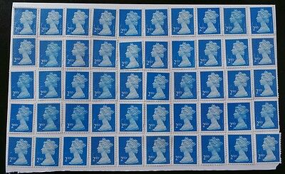 50 BLUE 2nd CLASS SECURITY STAMPS 2ND - UNFRANKED OFF PAPER., WITH GUM FV £29@'