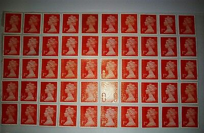 50 x 1st Class Red Security Stamps First. Unfranked off Paper with Gum @