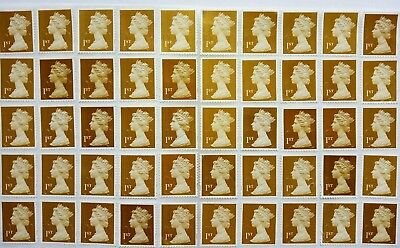 50 x 1st Class Gold Security Stamps First. Unfranked off Paper with Some Gum.,