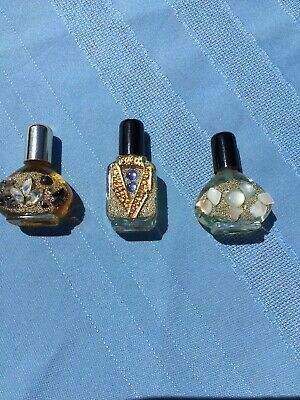 Lot of 3 Tiny Ornate Decorated  Glass Vintage Perfume Bottles Miniature Full