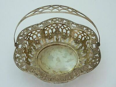 Antique Webster Sterling Silver Reposse Pierced Basket Bowl Swags Roses Bows 76g