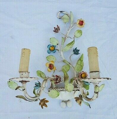 Charming old wall sconce, painted tealight, Italian Rococo style flower, 1940's