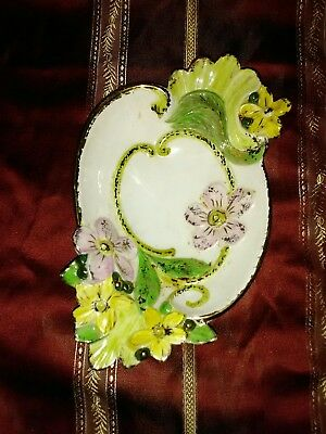 Antique Vintage ART NOUVEAU DOGWOOD Yellow Daisy Pedestal Bowl Candy Dish