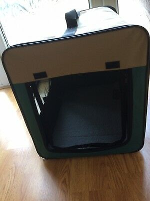 Fabric Soft Pet Carrier Cat/Dog Carrier Foldable Portable Green Beige New