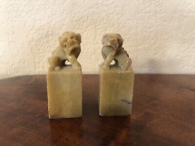 Antique/Vintage Stone Carved Miniature PAIR Foo Dogs Figurines Statue Sculpture