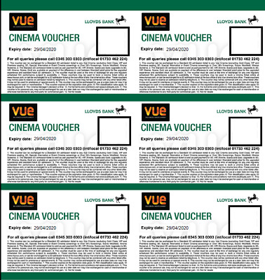 Six 6 x Vue Cinema Vouchers / Tickets Brand New Expiry 29/04/2020 Any Day/Time