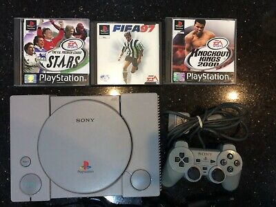 Sony PlayStation 1, PS1 console with Analog controller & 3 games.