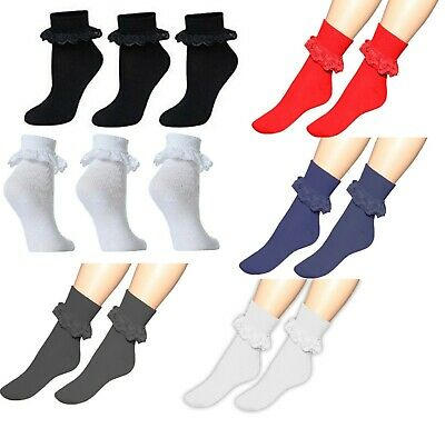 1/3/6 X Pairs of Girls Frilly Lace Plain Ankle Socks Fancy Party Cotton Footwear
