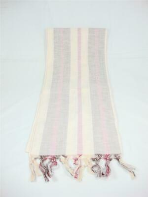 Glentex Oblong scarf Neck Head wrap cotton faded burgundy cream peach stripes
