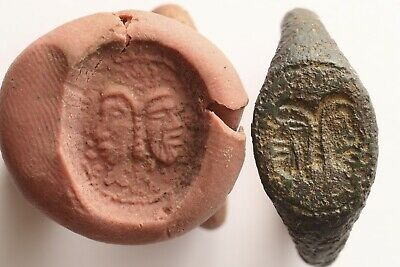 13th/14th Century Medieval Bronze Finger Ring With Heads Of St Peter & St Paul