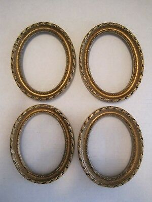 """Vintage Resin Matching  Lot Of 4 Oval Pictures  Frames Gold Ornate 5"""" X 4"""""""