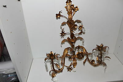 Vintage Italian Gold Gilt Candle Wall Sconce W/Crystal Prisms-Leaves/Flowers