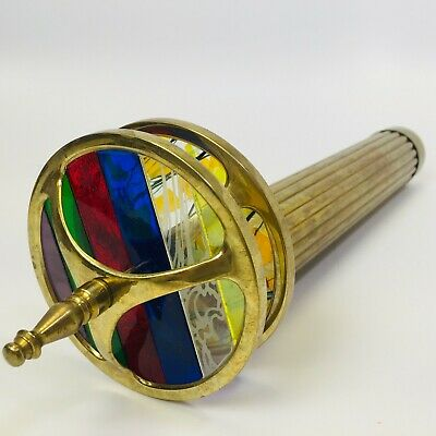 Vintage Brass Kaleidoscope  with Leaded Stained Glass + Wheel Design - Working
