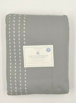 "Pb Kids Pottery Barn Kids~ Jack Stitched Border Blackout Panel 96"" Gray With Whi"