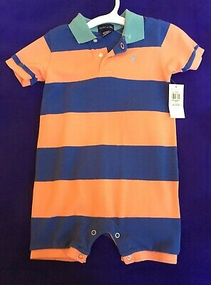 22bdb0f9a NWT Polo Ralph Lauren Boy Striped one piece romper 12-18 m NEW Toddler Baby