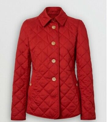 Burberry coat jacket Frankby Quilted Jacket military red plaid Smal