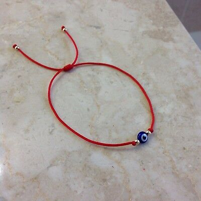 Evil Eye Red String Kabbalah Bracelet Gold14K Beads Good Luck Charm Protection