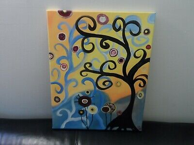 Abstract Art, Tree and Landscape Painting, Signed CR, Acrylic on Canvas