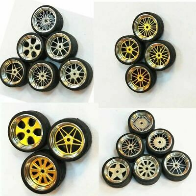 1/64 Scale Alloy Wheels - Custom Hot Wheels, Matchbox,Tomy, Rubber Tires 20 C8D8