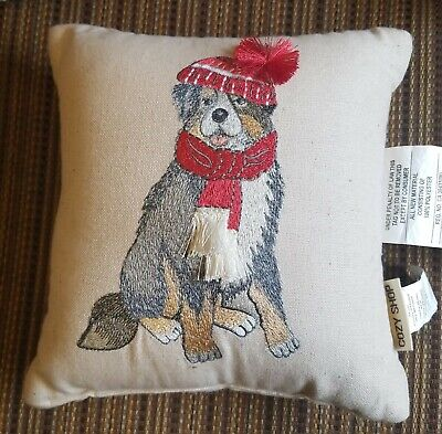 Cozy Shop Christmas Bernese Mountain Dog embroidered decorative pillow 11x11 in