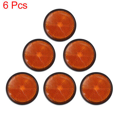6pcs 5mm Red Black Plastic Screw Mount Reflective Warning Motorcycle Reflector