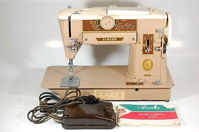 Vintage Tan Singer Sewing Machine Model 401A with Pedal and Manual brown antique