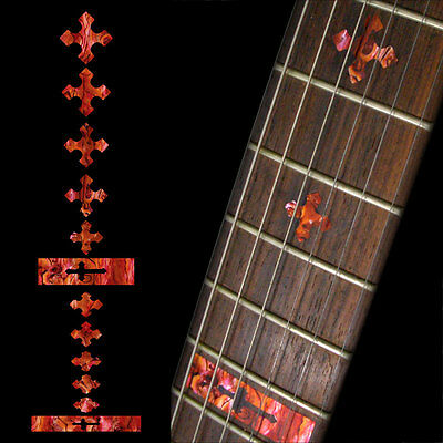 Inlay Stickers Decals Fret Markers For Guitar & Bass Neck - Cross Abalone Red