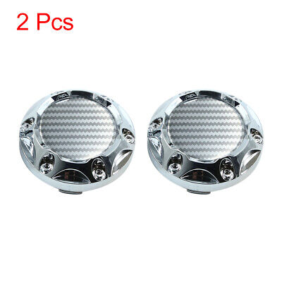 2 Pcs Silver Tone 68mm Dia 6 Clips Wheel Tyre Center Hub Cap Covers for Car