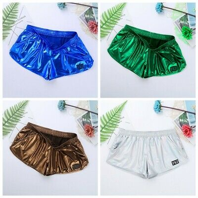 Sexy Underwear Mens Boxer Brief Shorts Pouch Metallic Low Rise Underpants Trunks