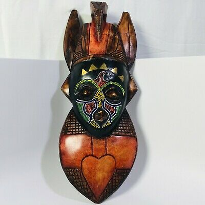 """Asian Hand-Carved Wooden Mask Nicely Crafted with Beads - 17.25"""" Tall"""