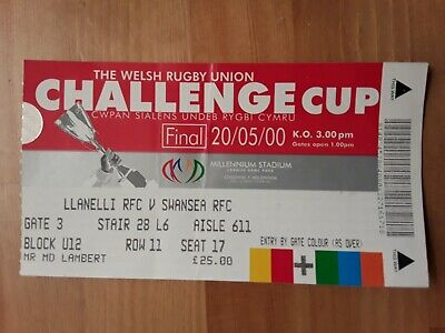 RUGBY UNION MATCH  TICKET -  W.R.U. CUP FINAL 2000  LLANELLI v SWANSEA
