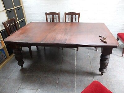 Antique wind out table and 6 upholstered chairs - REDUCED FOR QUICK SALE
