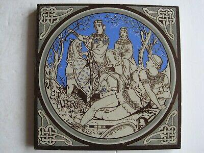 ANTIQUE MINTON - MOYR SMITH - TENNYSON'S IDYLLS OF THE KING TILE - ETARRE. c1876