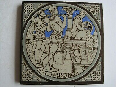 ANTIQUE MINTON - MOYR SMITH - TENNYSON'S IDYLLS OF THE KING TILE - GARETH c1876