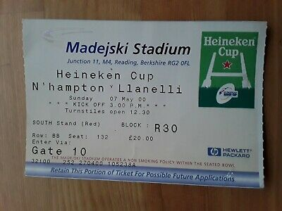RUGBY UNION MATCH TICKET - HEINEKEN CUP SEMI-FINAL 2000 LLANELLI v NORTHAMPTON