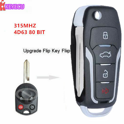Upgraded Flip KEY REMOTE for 2011-14 FORD MUSTANG CLICKER 315MHz 4D63 80bit CHIP