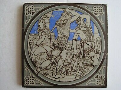 ANTIQUE MINTON - MOYR SMITH - TENNYSON'S IDYLLS OF THE KING TILE - GERAINT c1876