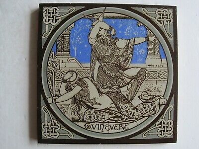 Antique Minton - Moyr Smith - Tennyson's Idylls Of The King Tile - Guinevere