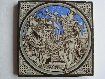 ANTIQUE MINTON - MOYR SMITH - TENNYSON'S IDYLLS OF THE KING TILE - ISOLT c1876
