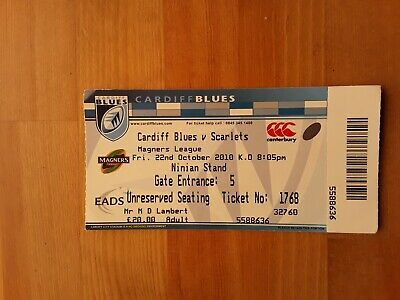 RUGBY UNION MATCH TICKET - CARDIFF BLUES v SCARLETS Magners League 2010/11