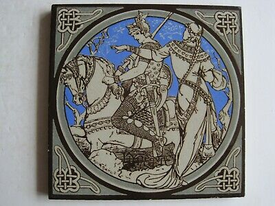 ANTIQUE MINTON - MOYR SMITH - TENNYSON'S IDYLLS OF THE KING TILE - LYNETTE c1876