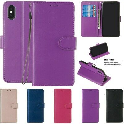 For iPhone XS Max XR 8 7 6 Plus Leather Wallet Card Holder Flip Stand Cover Case
