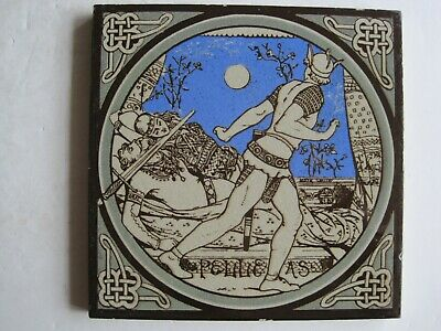 ANTIQUE MINTON - MOYR SMITH - TENNYSON'S IDYLLS OF THE KING TILE - PELLEAS c1876