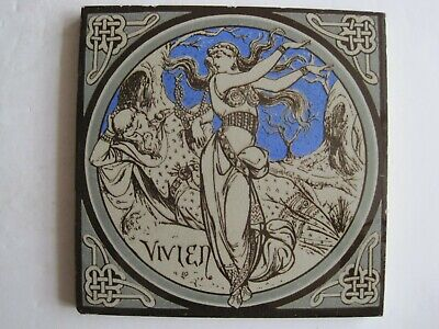 ANTIQUE MINTON - MOYR SMITH - TENNYSON'S IDYLLS OF THE KING TILE - VIVIEN c1876