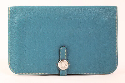 Authentic HERMES Dogon GM W/Coin Purse Blue Togo Leather Bifold Wallet #23684YER